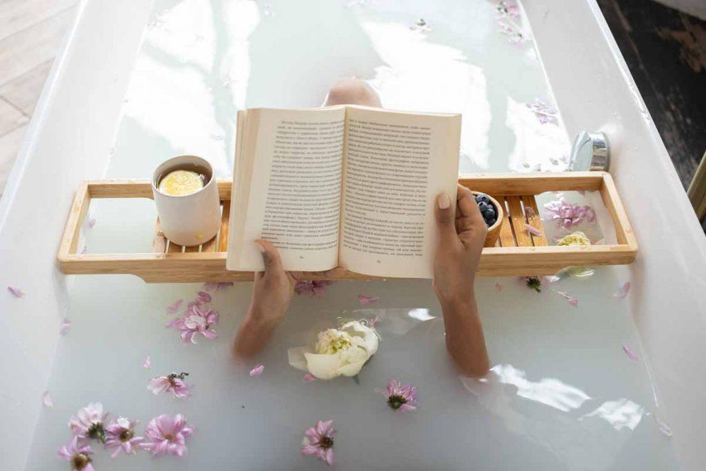 Taking a relaxing bath - lavender essential oil bath soak