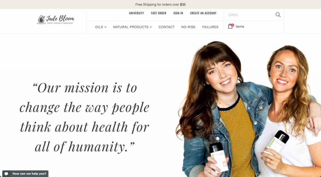 Jade Bloom Essential Oils - Website Homepage